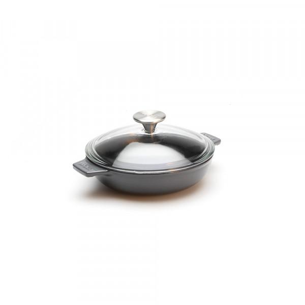Iron Servierpfanne mit Glasdeckel und Silikongriff